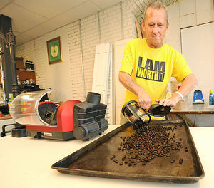 Charles, who was once homeless, is working roasting coffee beans for their delicious Redeemed Bean custom brew.